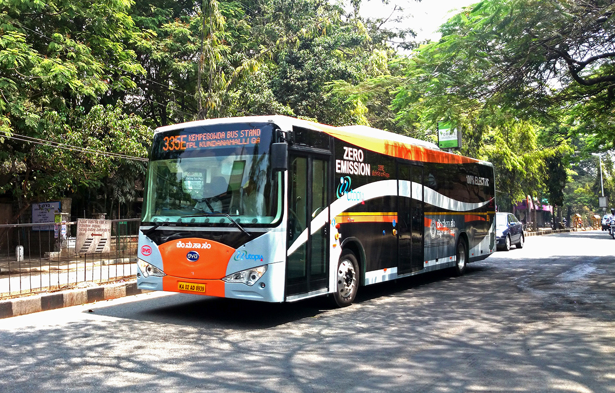 An electric bus in Bengaluru. Experts emphasise that while a lot has been done by the government to encourage e-mobility, clear goals and regulations are needed to make the transition successful. Photo by Ramesh NG/Flickr.