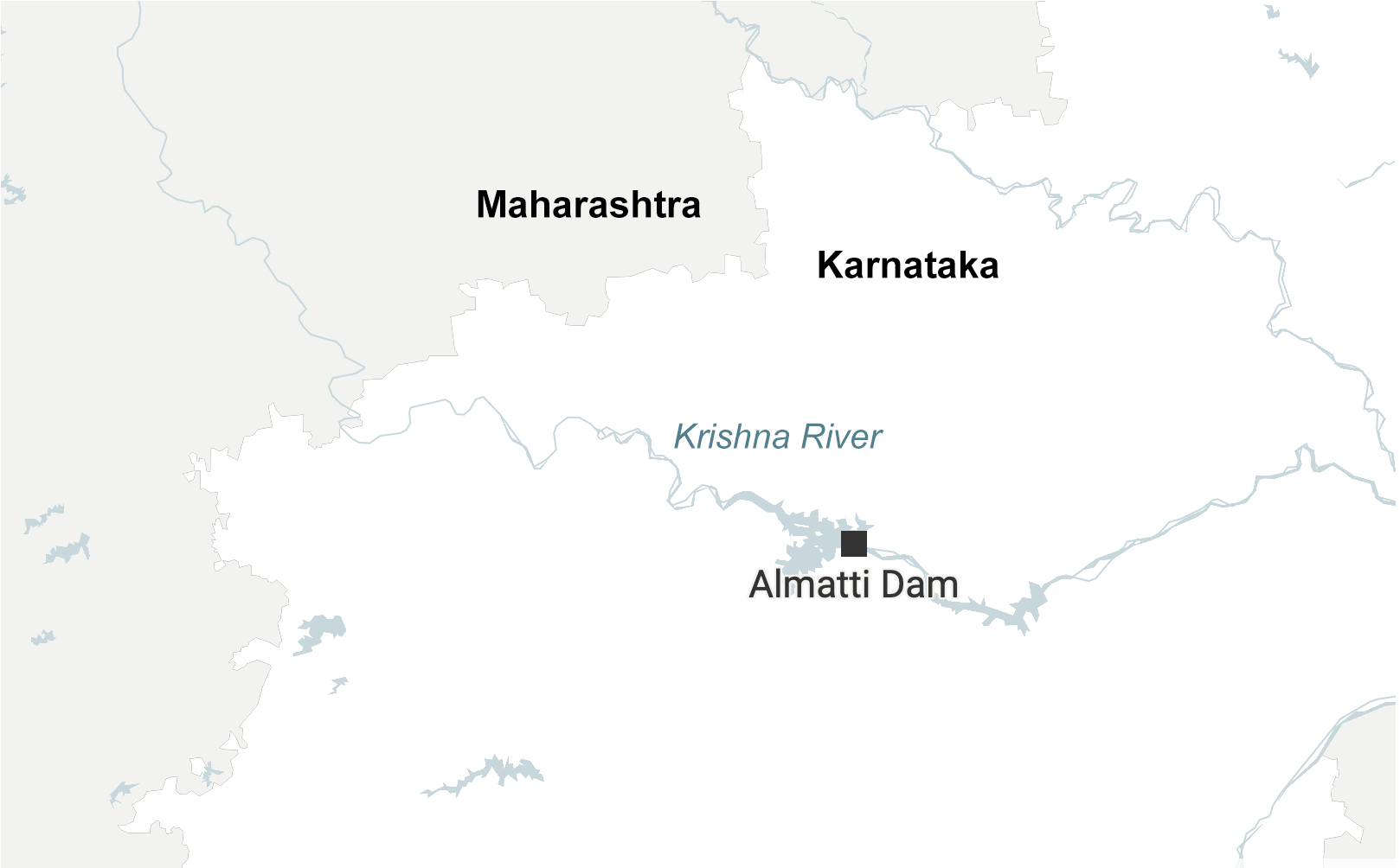 Almatti dam on Krishna River that flows through Maharashtra and Karnataka. Adding to the heavy rainfall, experts say the mismanagement of dam water increased the impact of flooding in both states. Map made with Datawrapper.