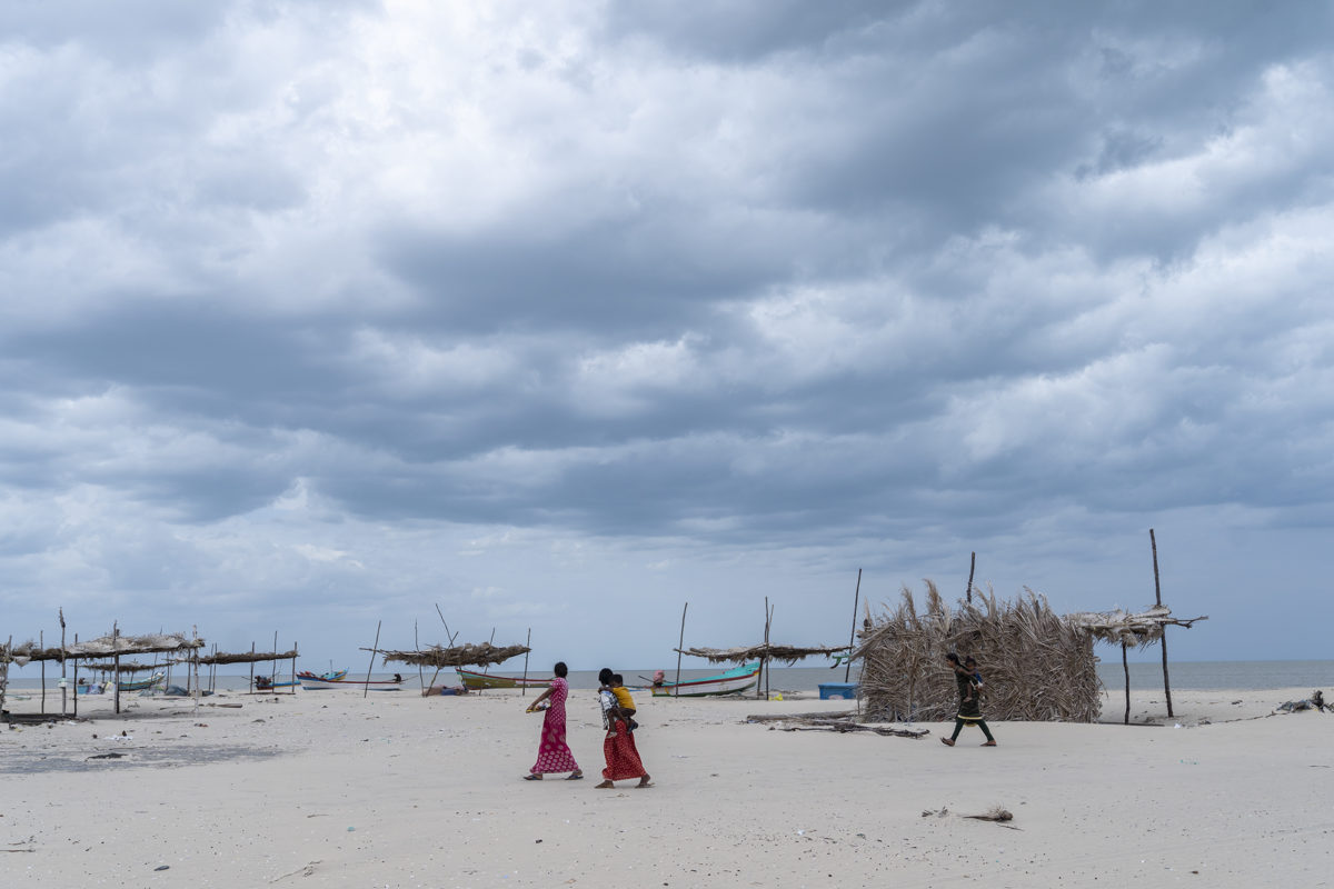 Dark clouds gather on Vizhunthamavadi's coast. Fishing and agricultural communities inhabiting Tamil Nadu's disaster-prone regions incurred substantial losses during a tsunami in 2004 and a cyclone in 2018. The community radio station can help increase the climate resilience of vulnerable communities. Photo by Kartik Chandramouli/Mongabay.