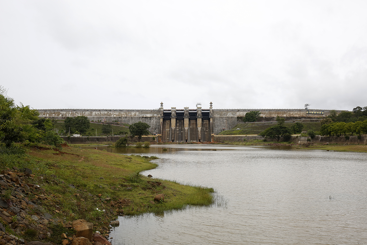 A view of the Harangi dam across the Harangi river in Huduguru village in Kodagu. Habitat fragmentation that increases the contact between elephants and agriculture is considered the prime cause of conflict. Photo by Abhishek N. Chinnappa.