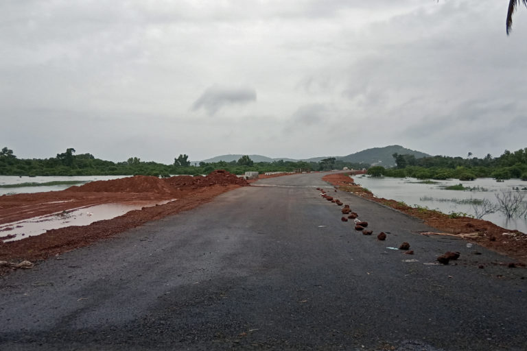 The Margao Western Express Bypass construction site flanked on both sides by floodwaters of River Sal and its tributaries. Photo by Pamela D'Mello.
