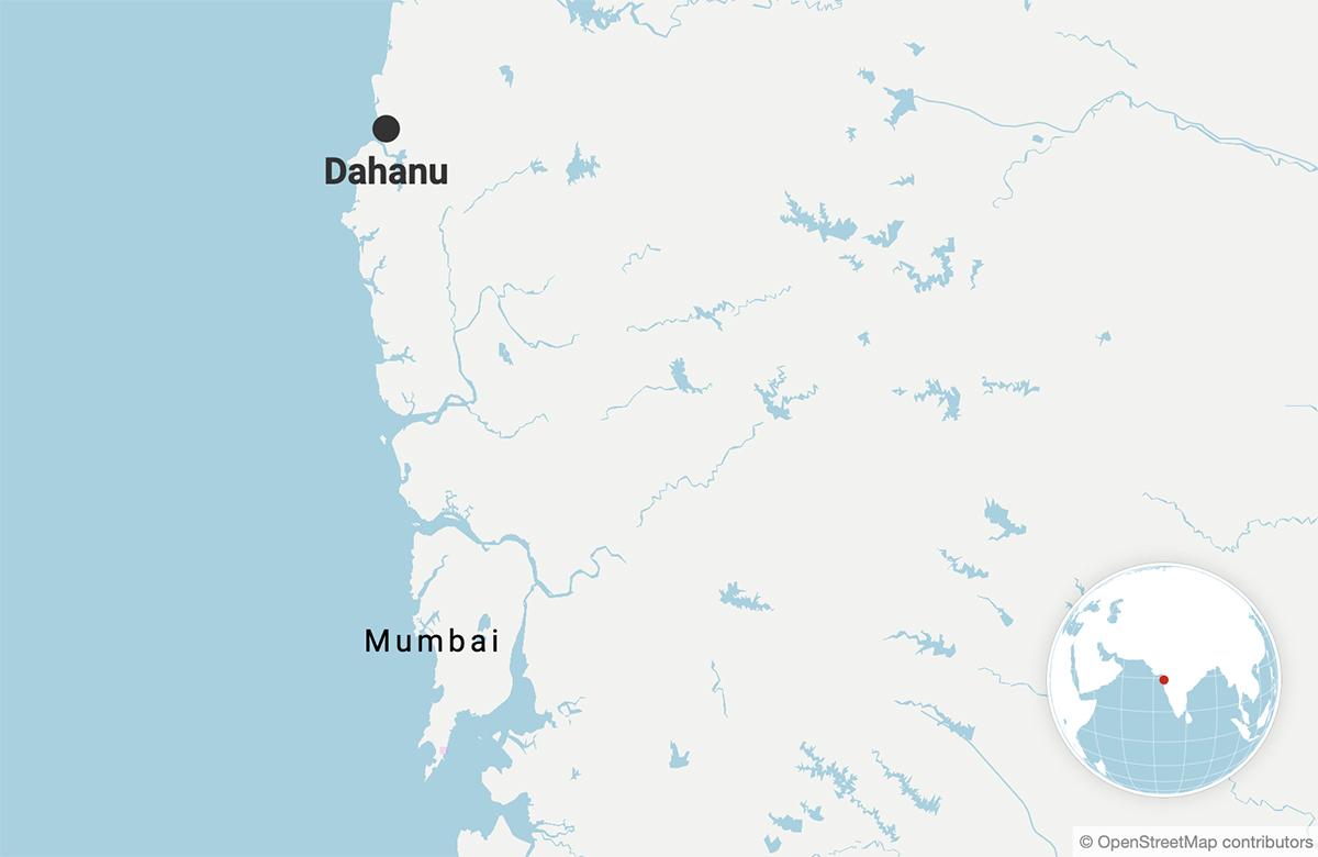 Dahanu is roughly 140 kilometres away from Mumbai. Map made with Datawrapper.