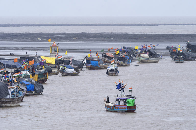 Fishing boats in Dahanu, where infrastructure development projects could put the livelihood of communities at risk. Photo by Kartik Chandramouli/Mongabay.