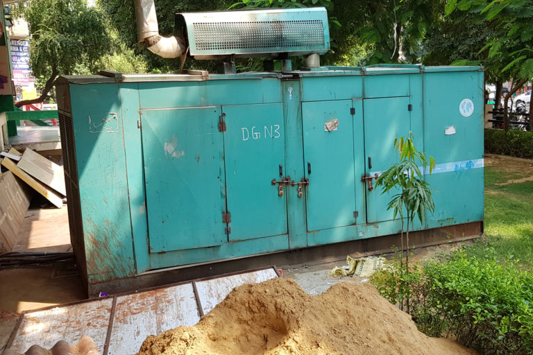Diesel generators used non-stop in commercial and residential centres are worsening the ai quality of Gurugram. Photo by Hridayesh Joshi.