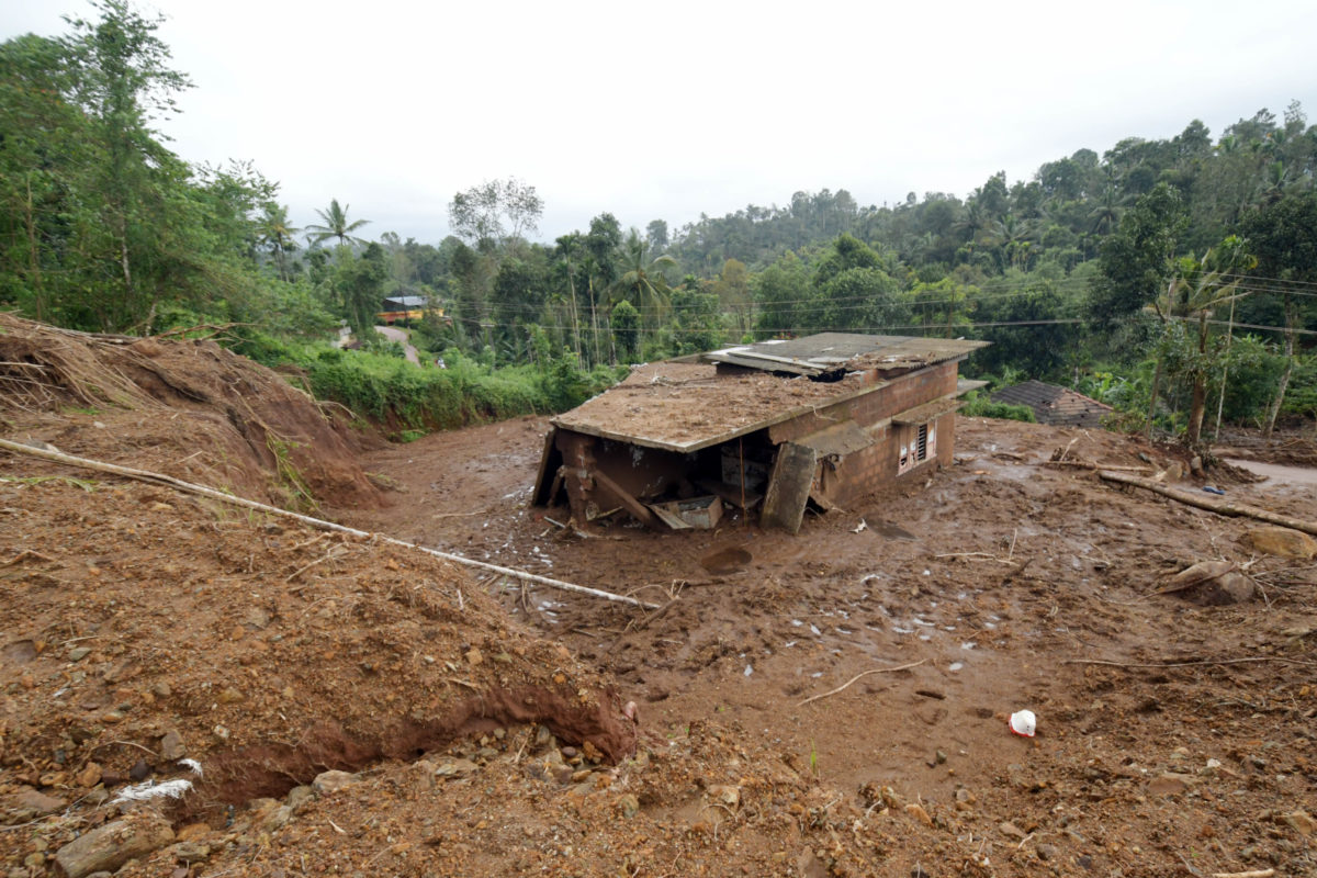 A house destroyed by landslides in Wayanad. Photo by Abhijith Madhyamam.