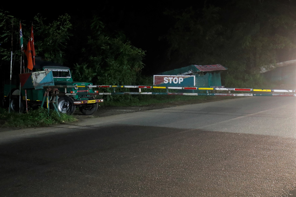 A barricade at night on the NH 766 in Wayanad, Kerala. A night traffic ban is imposed on the stretch passing through Bandipur Tiger Reserve in Karnataka. Photo by Abhishek N. Chinnappa.