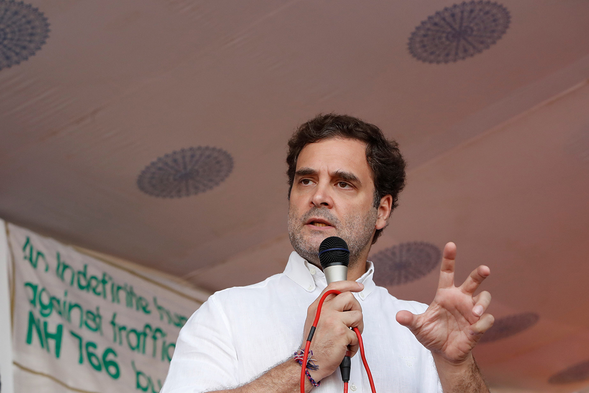 Rahul Gandhi, Member of Parliament, Wayanad, addresses a protest in the district against the night traffic ban on NH 766 inside the Bandipur Tiger Reserve. Photo by Abhishek N. Chinnappa.