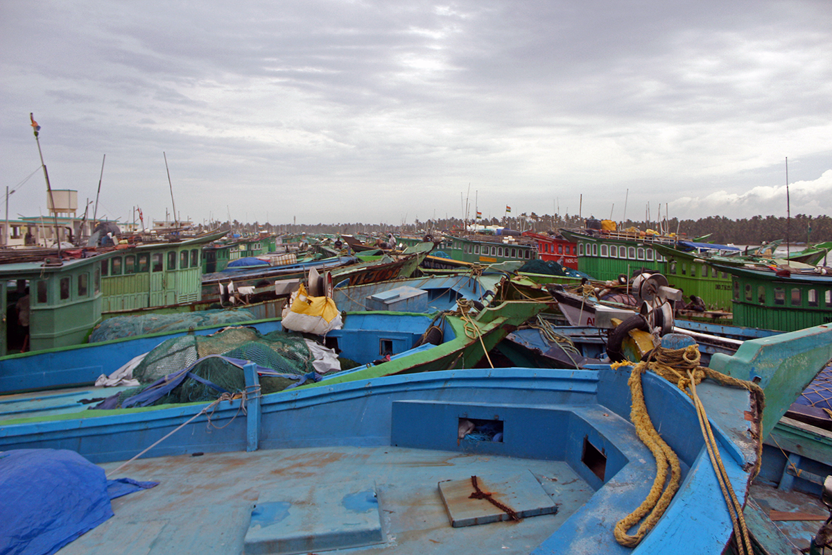 Longliners docked until their next voyage in Thoothoor. Photo by Bhanu Sridharan.