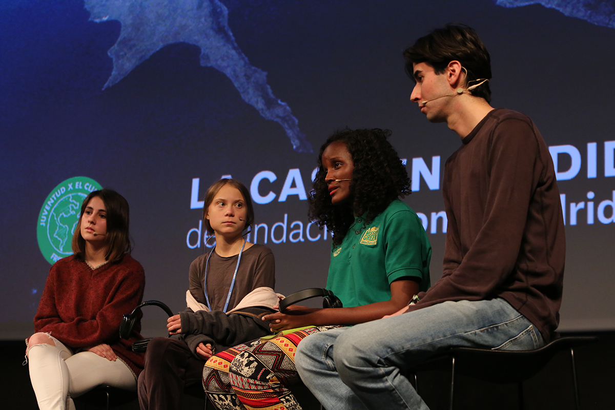 A press conference held by Greta Thunberg, Vanessa Nakate and youth activists from Spain Photo by Bego Solís.