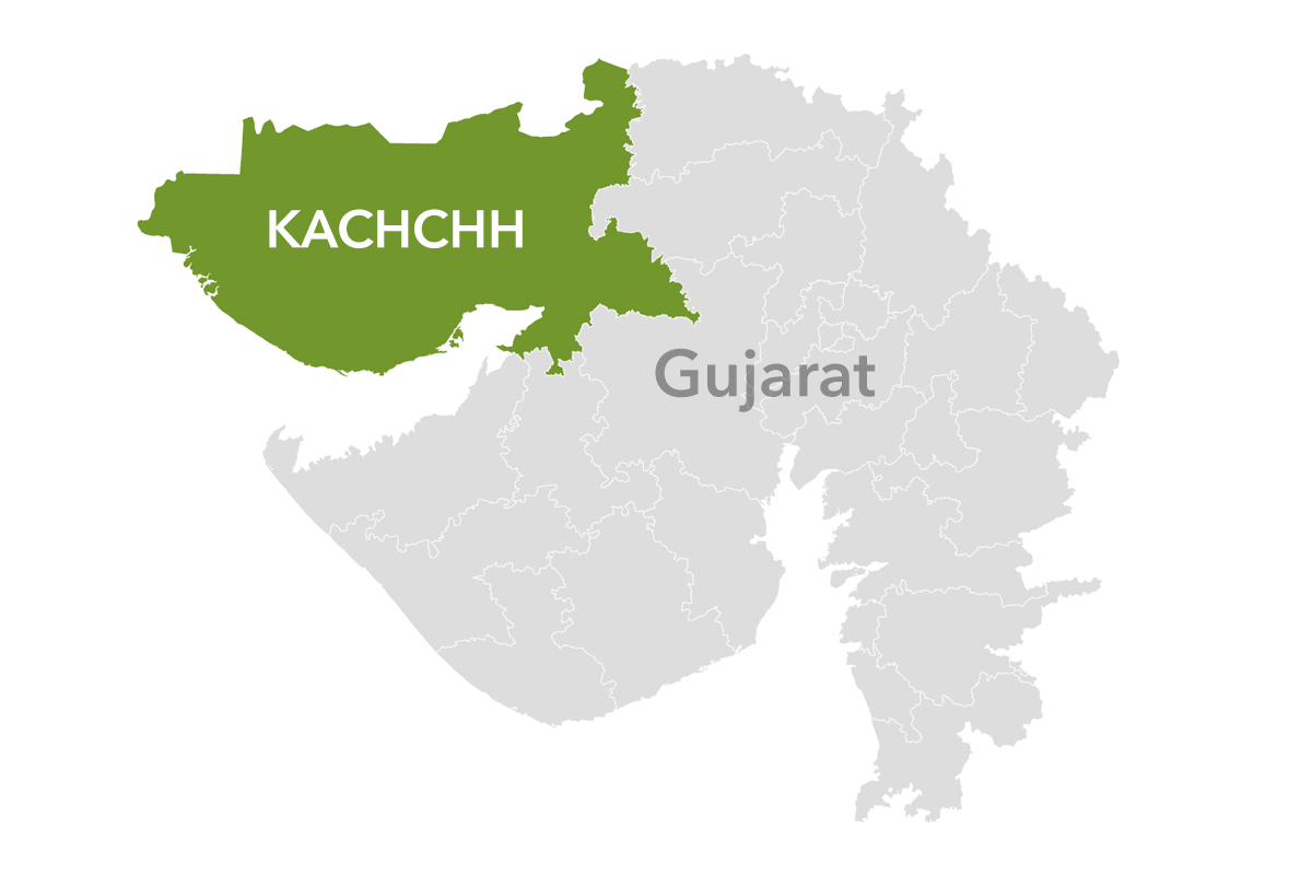 The Banni grasslands spread across 3000 square km in northwest Gujarat's Kachchh district. Map made with Datawrapper.