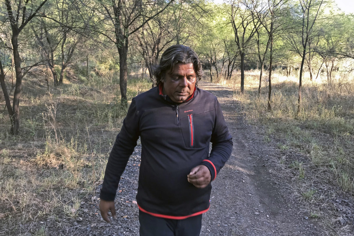 Aditya Singh in his 35-acre private forest on the edge of Ranthambore Tiger Reserve. Photo by Mayank Aggarwal/Mongabay.