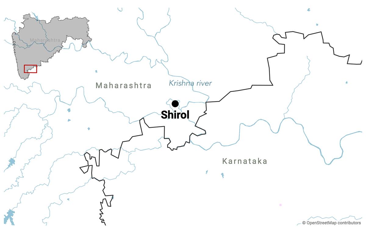 Shirol taluka in Kolhapur district lies on the border between Maharashtra and Karnataka. Map made with Datawrapper.