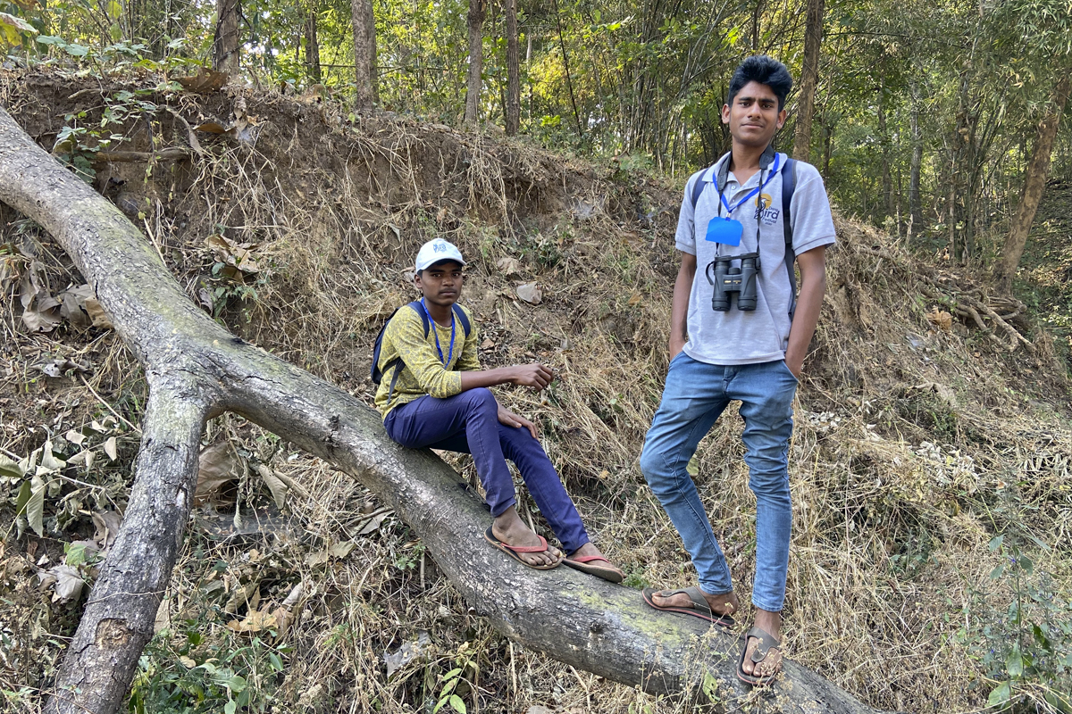 Pratik and his school friend from a school near Purna Wildlife Sanctuary in Dang participated in the Dang Bird Festival 2020. Photo by Kartik Chandrmouli/Mongabay.