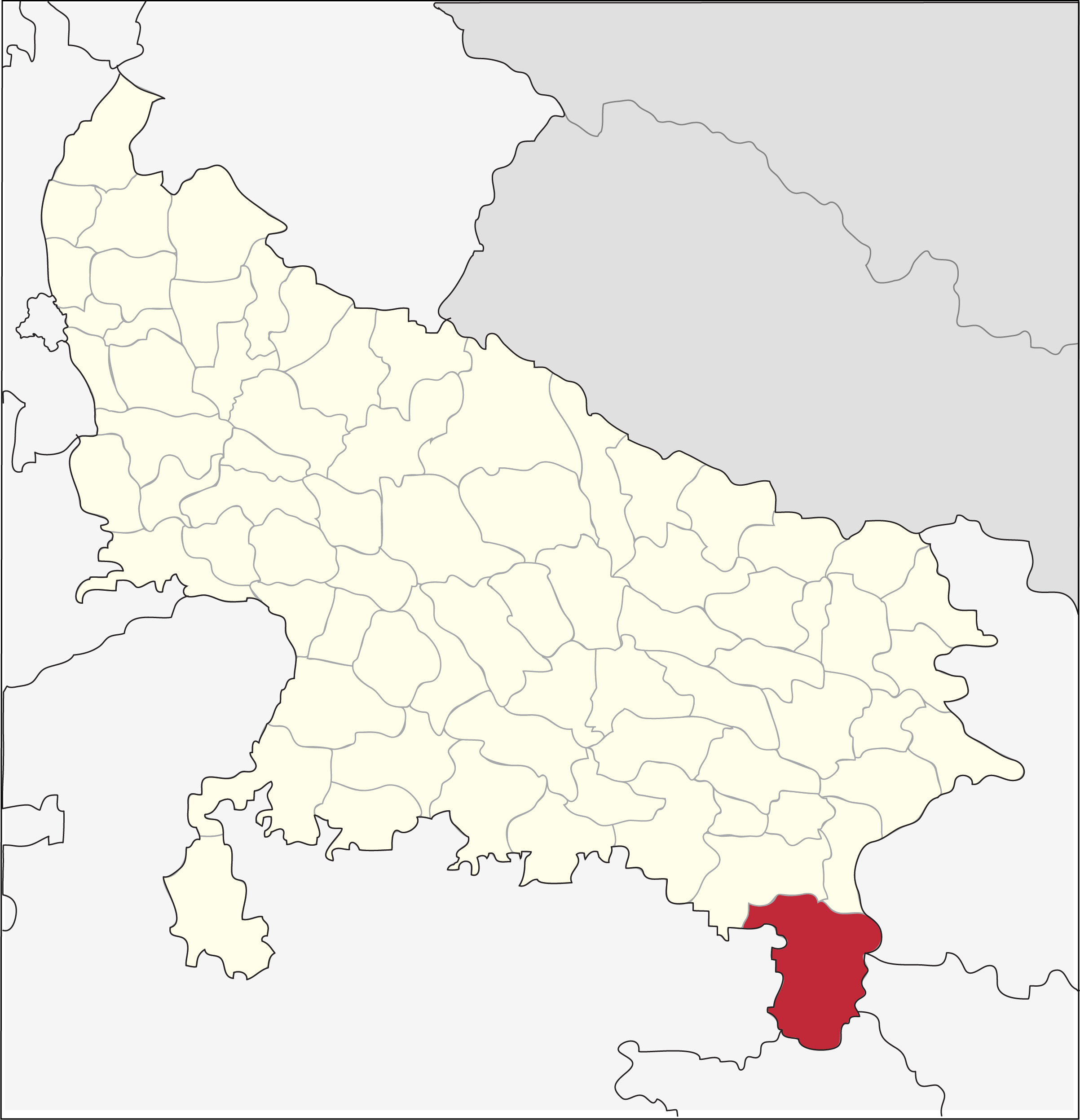 Sonbhadra district in Uttar Pradesh. Map from Wikimedia Commons.