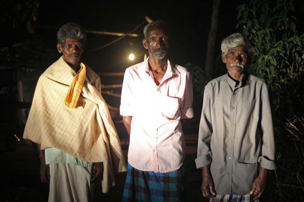 (L to R) Mudhan, Maasi, Selvan, members of the Irula tribal community from Masinagudi. Photo by Balasubramaniam N.