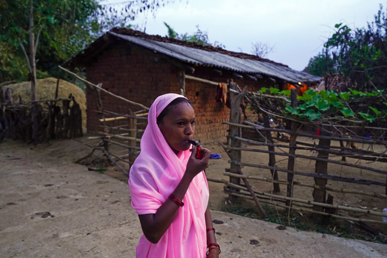 An ASHA worker blows a whistle to remind the community to use mosquito nets, a few days before the nationwide COVID-19 lockdown was imposed. Photo by Vishnu Prasad.