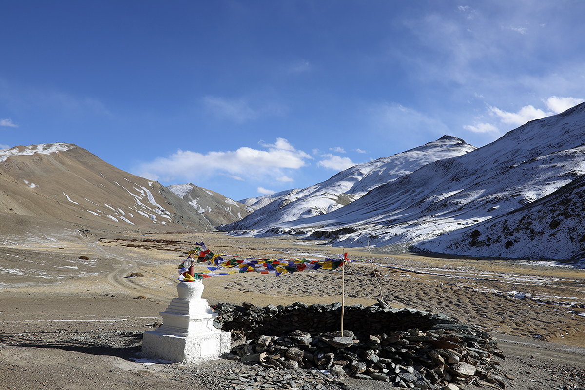 A stupa next to a neutralised shangdong (traditional wolf trap) in Tsaba valley, Ladakh. Photo by Rigzen Dorjay.