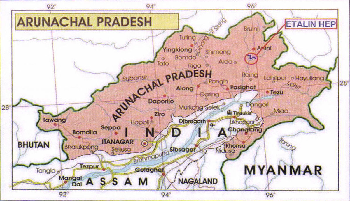 Location of Etalin Hydroelectric Project in AnrunachalPradesh. Map from Government of India.
