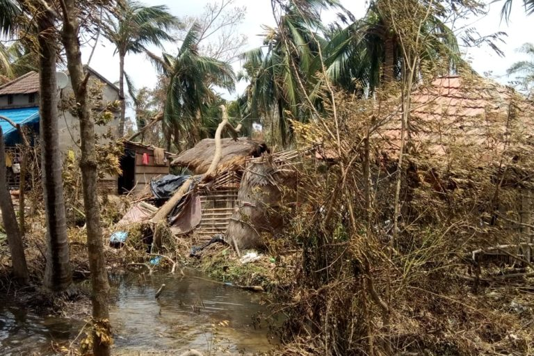 Houses damaged in Patharpratima in South-24 Paraganas. Photo by Sudhansu Maity.