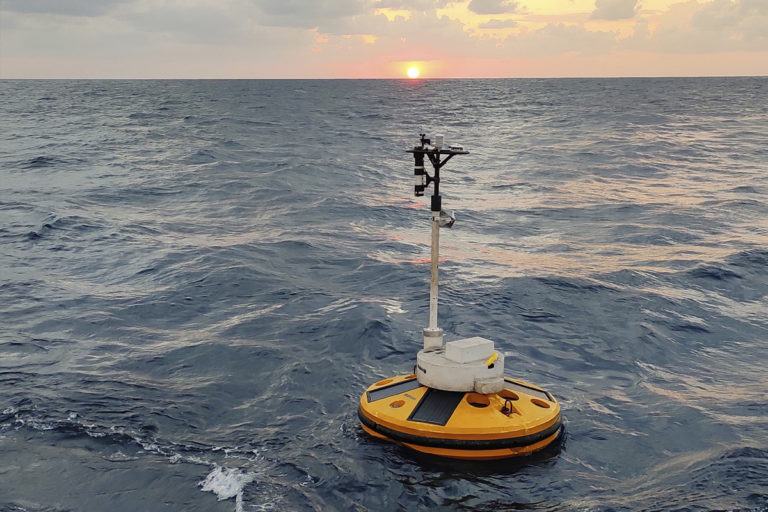 Coastal buoy in the Indian Ocean to relay data about wind, temperatures and waves. Photo by NIOT.