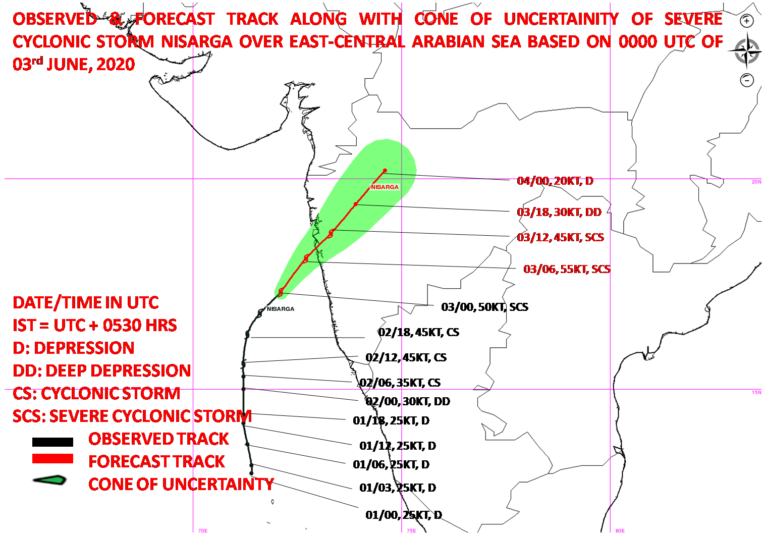 Cyclone Nisarga entering the Maharashtra coast. Map by IMD.