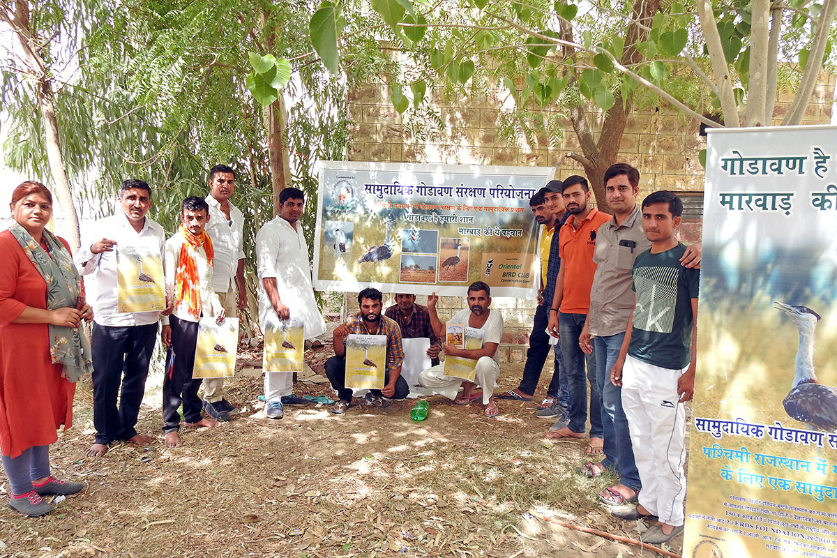 Wildlife biologists Mamta Rawat and Sumit Dookia with some of the community volunteers of the great Indian bustard conservation project. Photo from Sumit Dookia.