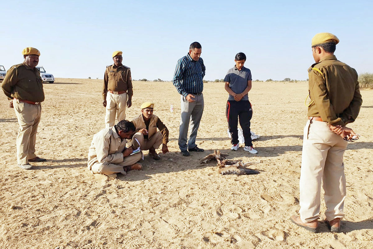 Director of Desert Nation Park and other forest department officials investigating the death of a GIB, reported by volunteer Radheshyam Pemani Bishnoi. Photo by Sumit Dookia.