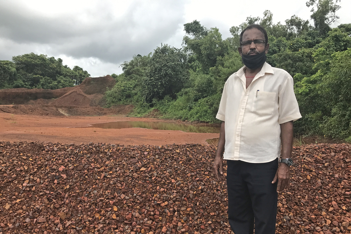 Umesh Volvaikar, a former employee at an iron ore screening plant is also a member of the Khazan Tenant Association with 120 other farmers. He has been dependent on mining for income but at the same time, his fields were adversely affected by unsustainable mining practices. Photo by Supriya Vohra.