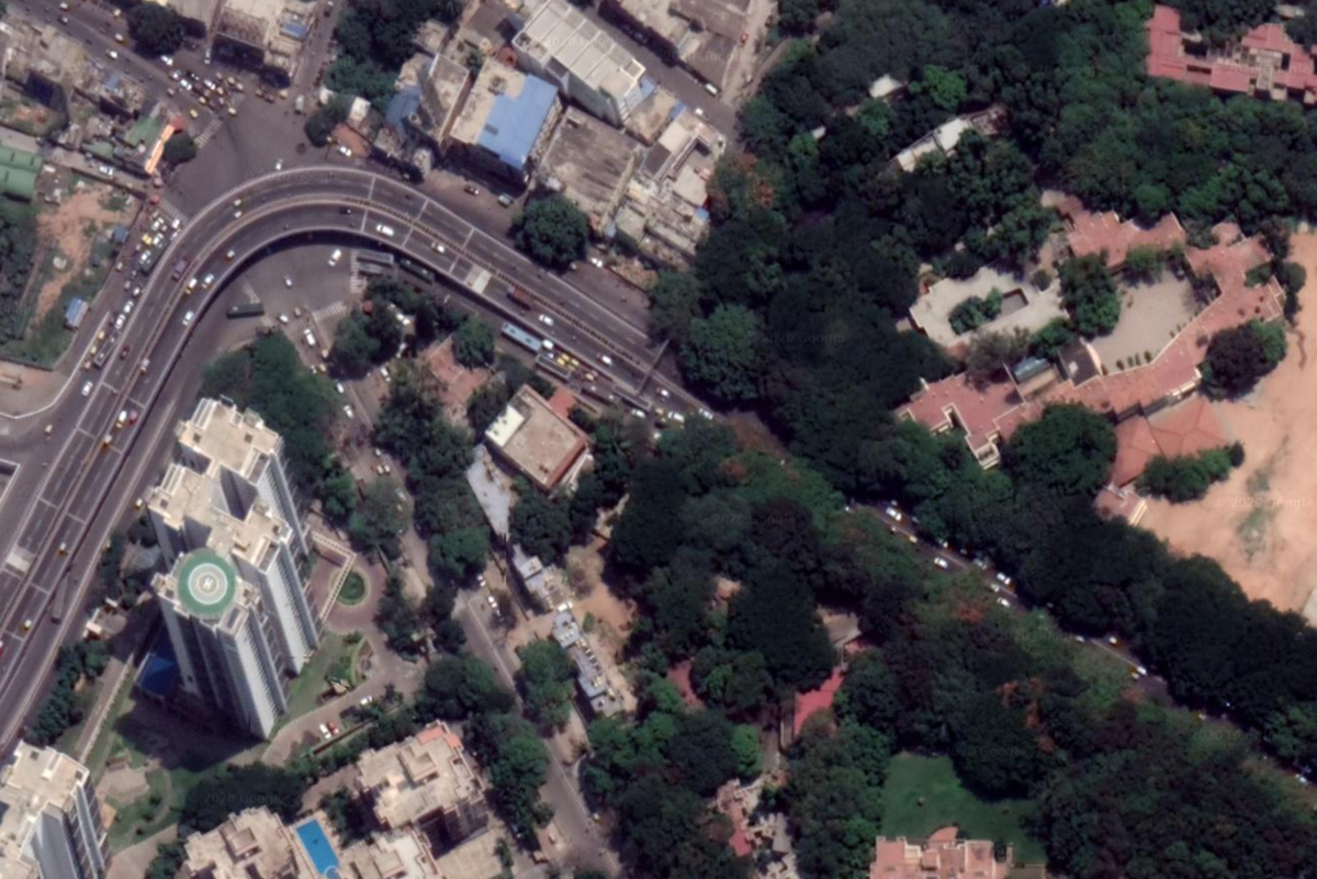 Satellite view of tree canopies in concretised Bengaluru. Tree canopies act like highways for arboreal animals such as the slender loris to move between areas. Vanishing green cover poses threat to the animal. Photo from Google Earth Pro.