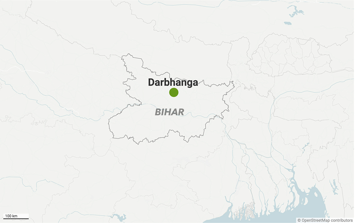 Darbhanga city part of Darbhanga district, Bihar, was a place rich with ponds that have dwindled over the years. Map from Datawrapper.