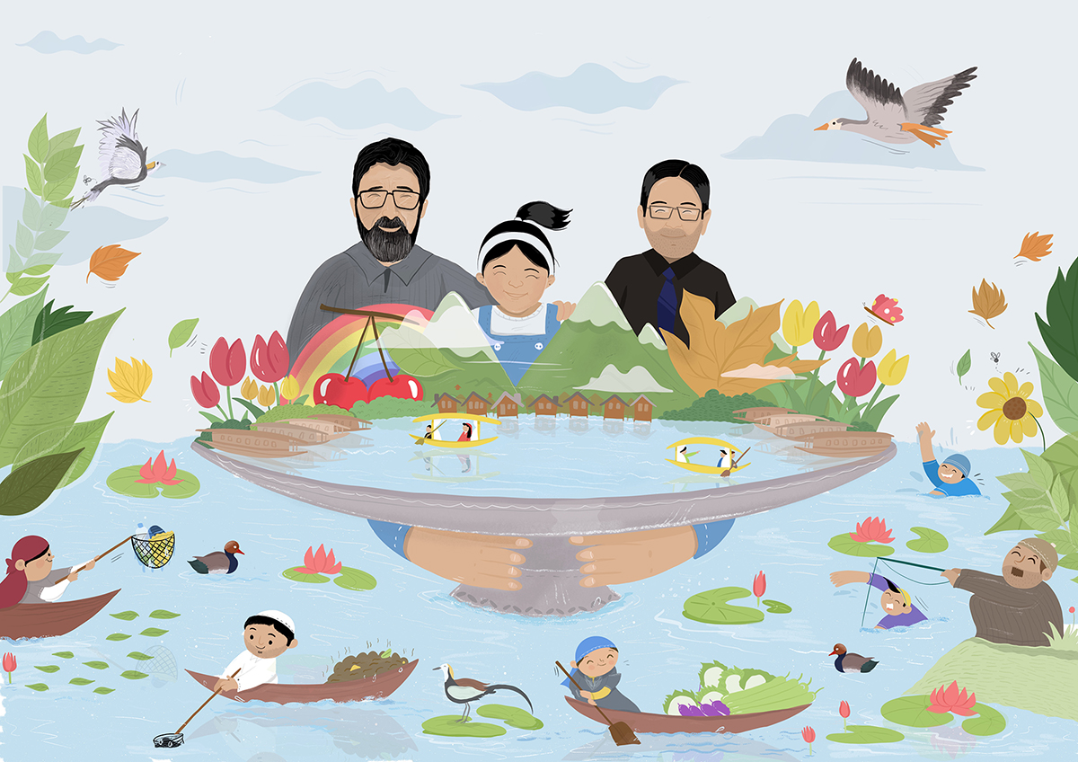 Tariq A. Patloo, Jannat and Nadeem Qadri from Kashmir are trying to protect the state's wetlands and inspire others to join the movement. Illustration by Ghazal Qadri for Mongabay.