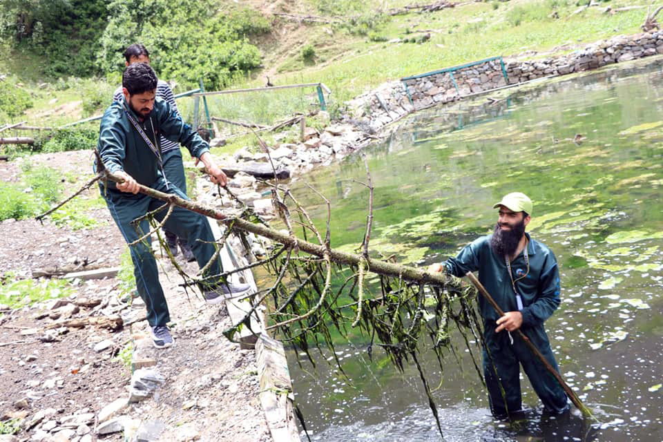 Volunteers clean the Verinag spring in Kashmir. Photo from Eco Watch.