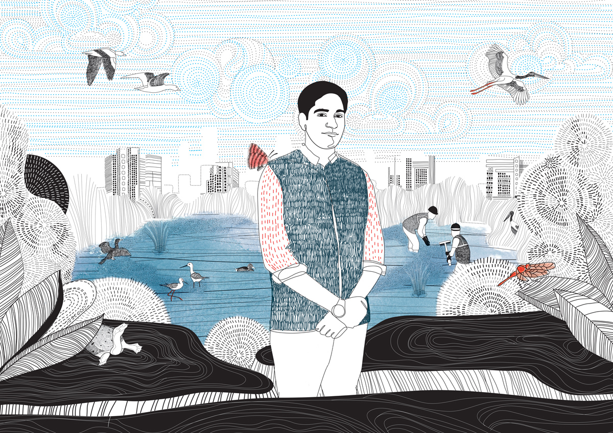 Ramveer Tanwar, a former engineer, has revived around 20 ponds and lakes in Noida and Greater Noida region. Illustration by Swati Kharbanda for Mongabay.