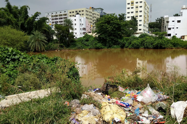 Karnan katte at Anjana Nagar helps in flood control but has become a dump yard and a mosquito breeding ground. Photo by Mohit M. Rao.