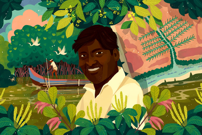 Over the past 20 years, 54-year-old Sankar, along with Muthupet's coastal community and forest department, has dug canals to enable freshwater flow into the mangroves and planted mangrove saplings. Illustration by Chaaya Prabhat.