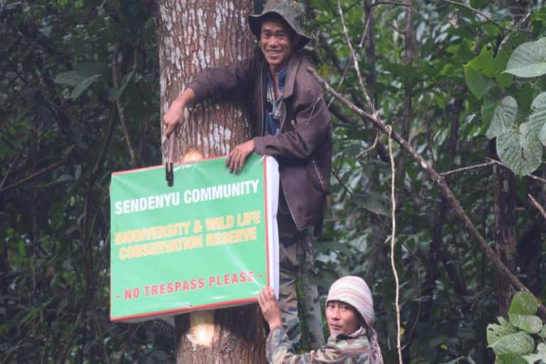 The Sendenyu Youth Organisation and Sendenyu Community Biodiversity and Wildlife Protection Force spearheaded planting of fruit trees, developing natural waterholes and salt licks for animals, and protection of the area with the help of youth volunteers seen in the photo. Photo from Sendenyu Community Biodiversity and Wildlife Reserve.