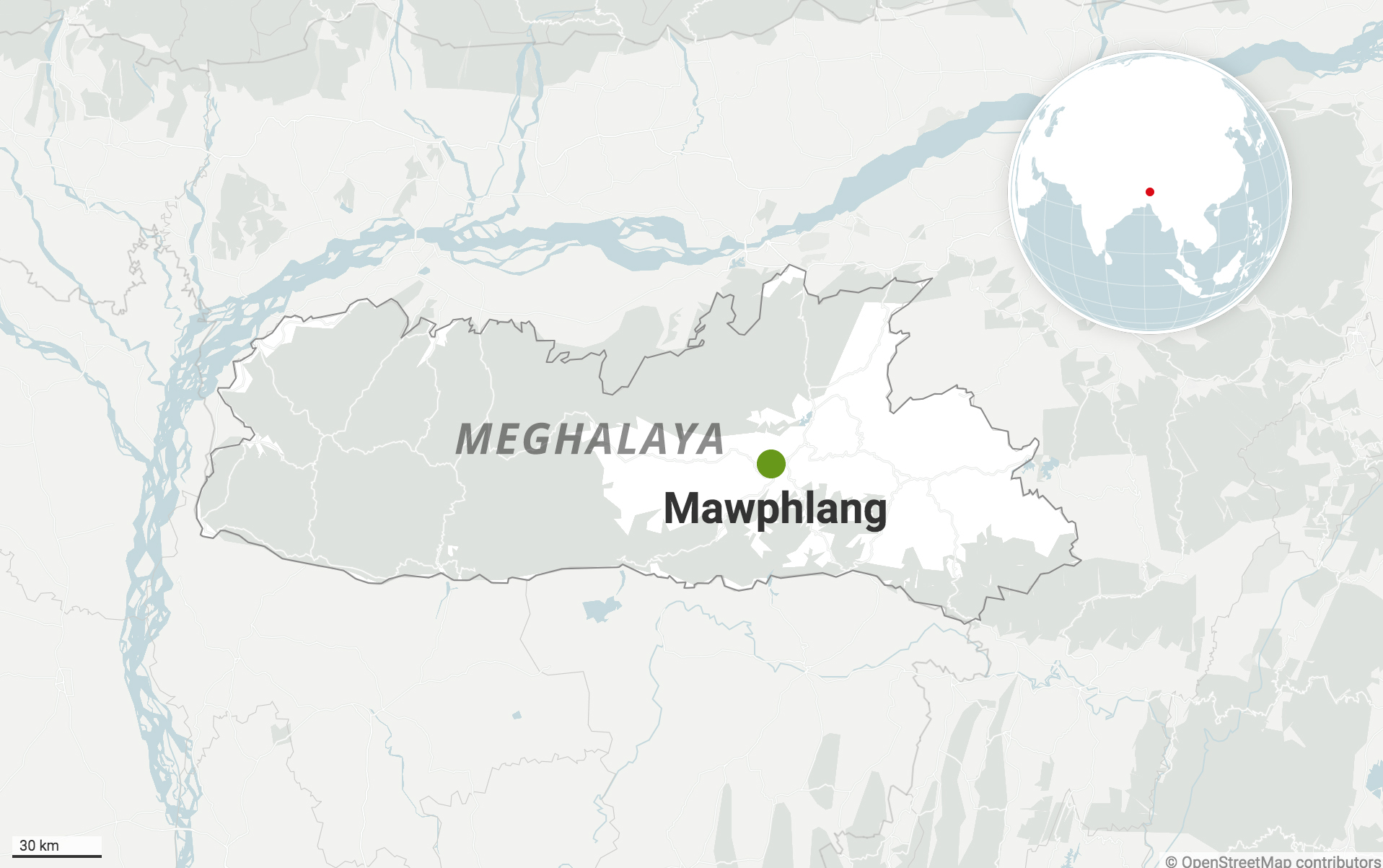 Mawphlang in East Khasi Hills district of Meghalaya. Map from Datawrapper.