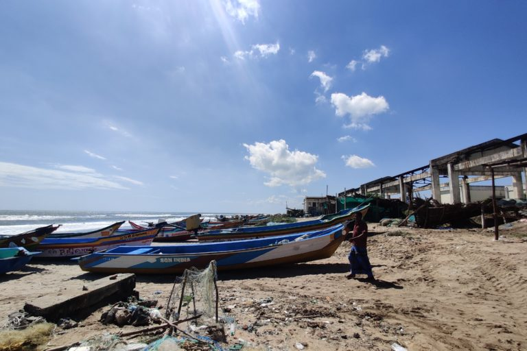 Boats, which had been moved away from the shore, were brought back to the beach by fishermen after Cyclone Nivar passed Villupuram district. The fishermen complain that as the sea comes in there is hardly any safe space to keep boats. Photo by Mahima Jain.