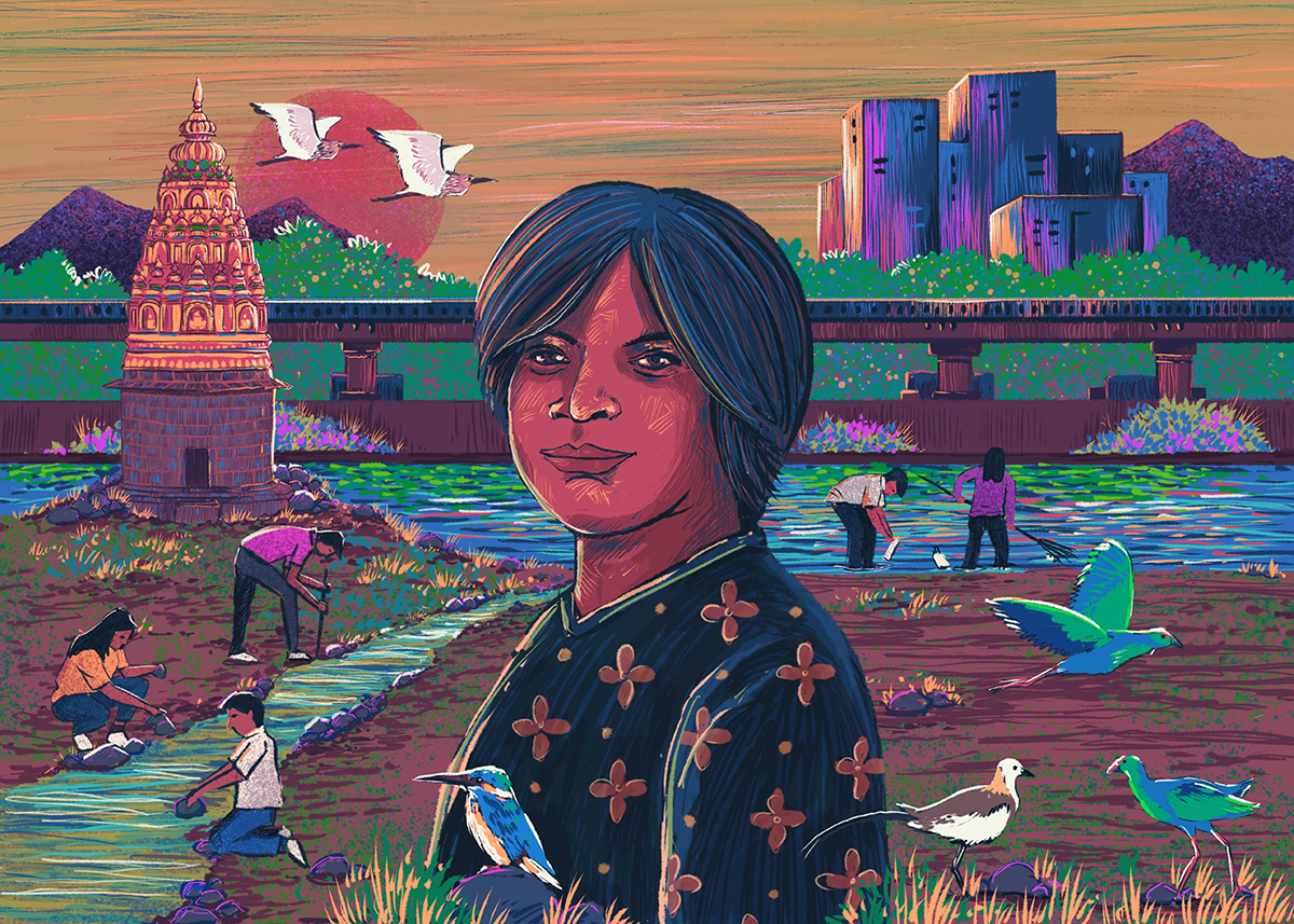 Aditi Deodhar, founder-director of Jeevitnadi, empowers and mobilises citizens to conserve urban rivers of Pune such as the Mutha river, which has been plagued by pollution and untreated sewage. Illustration by Rohan Dahotre.
