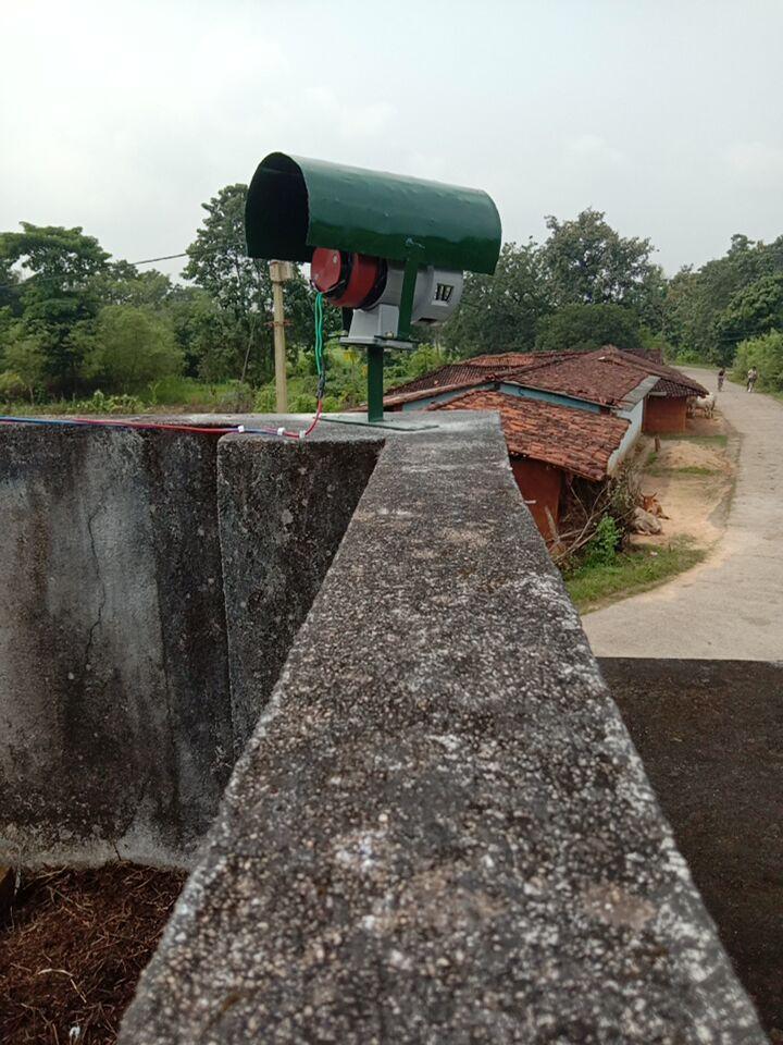 Elephant siren system installed at Tapkara range in Jashpur district of Chhattisgarh. Photo by Special Arrangement.