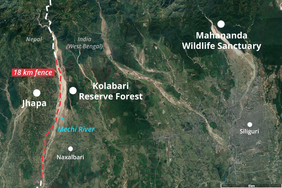 Approximate location of the 18 km energised fence along the Indo-Nepal border. (Geographic boundaries and location markers are indicative and for representation purposes only.) Base map from Google Earth Pro.