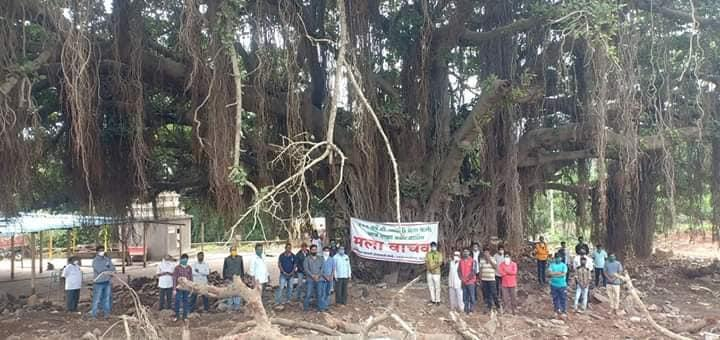 Villagers protesting to conserve the banyan tree at Bhose village. Credits- Durga Bhosle, Resident