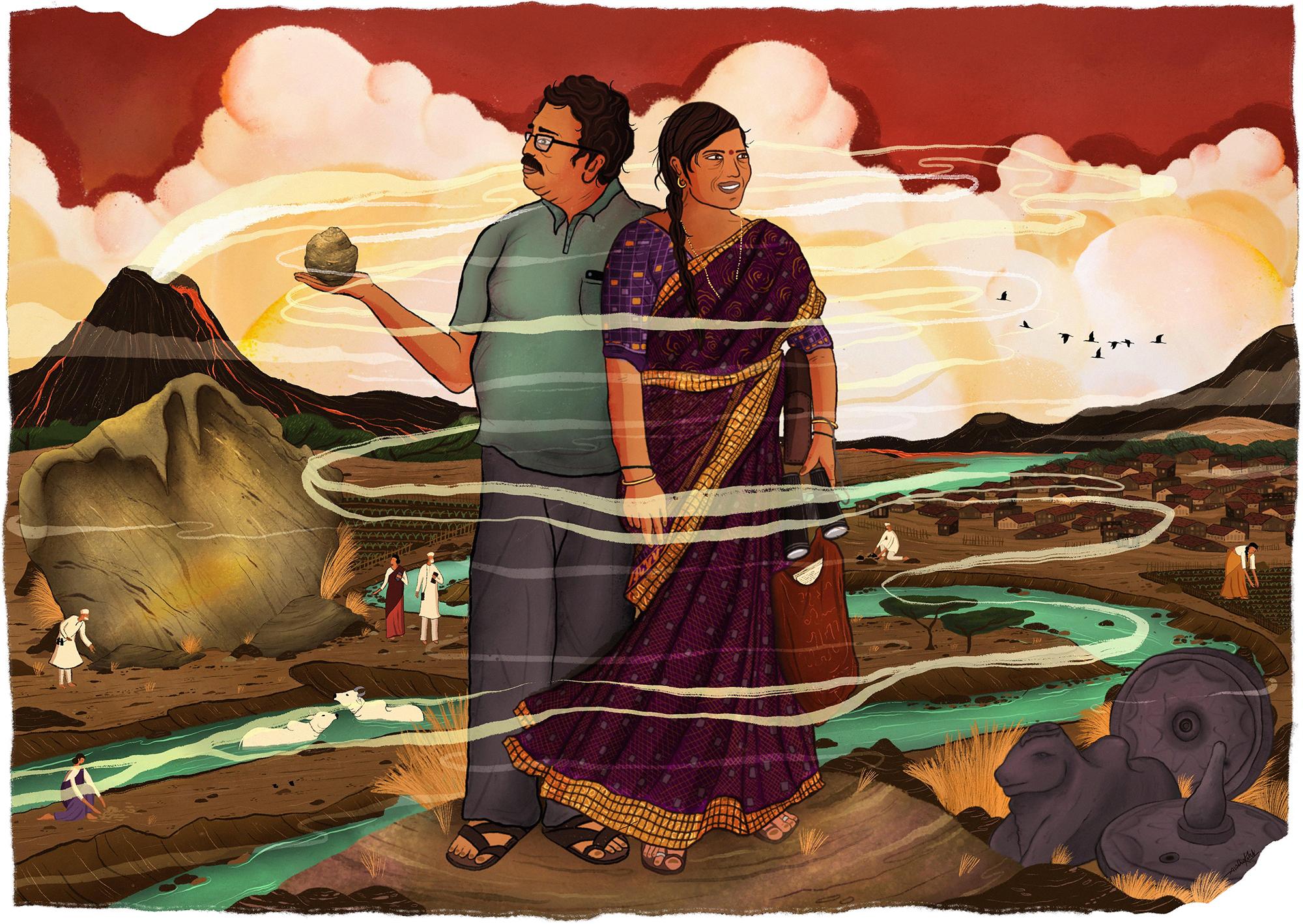 Wetland Champions: Pushpa and Amol Korde from Bori Budruk are leading efforts to preserve a unique geomorphological feature on the Kukadi river bed. Illustration by Svabhu Kohli for Mongabay.