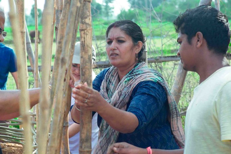Sindhu practises a technique called wattle-and-daub, using bamboo, for the walls of a natural structure. Photo by Sindhu Bhaskar.