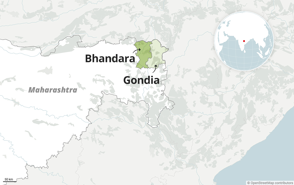 Bhandara and Gondia, two districts in the Vidharbha region at the eastern end of Maharashtra. Map from Datawrapper.