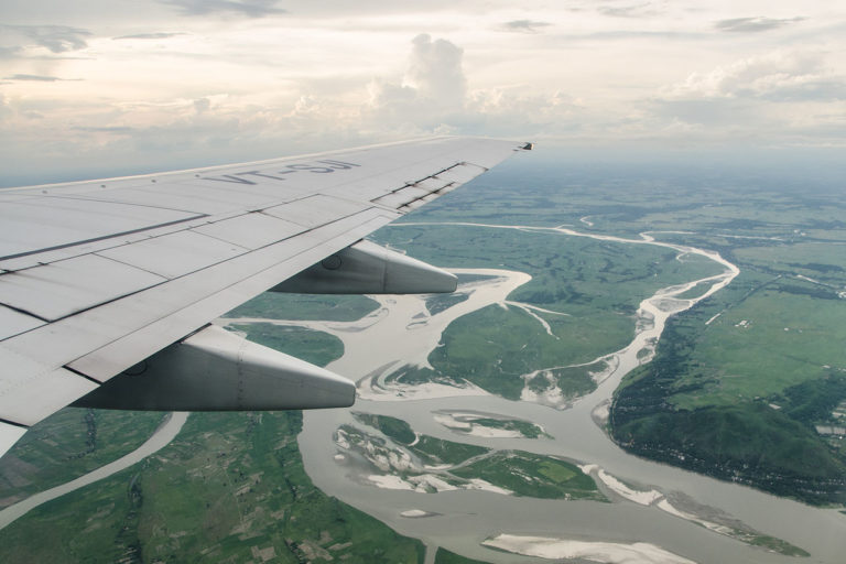 Aerial views of Brahmaputra river. Photo by Ashwin Kumar/Wikimedia commons.