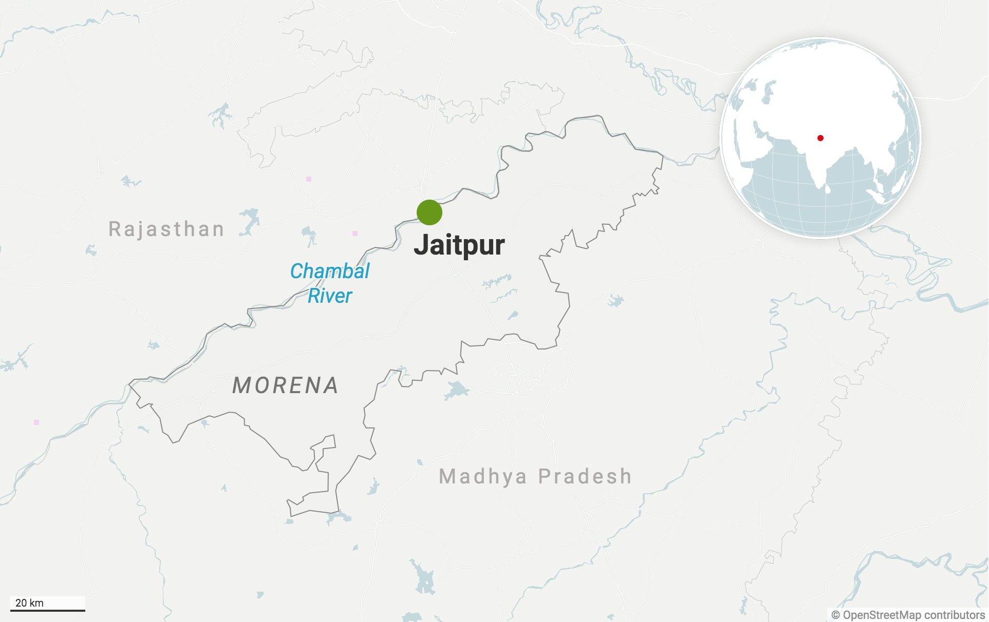 Jaitpur village in Morena district of Madhya Pradesh along the river Chambal. Map from Datawrapper.