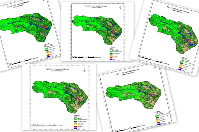 Amarkantak, the upper catchment area of the Narmada river in central India, has lost a significant percentage of forests and water bodies to agriculture and settlements in the last four decades. Images from study.