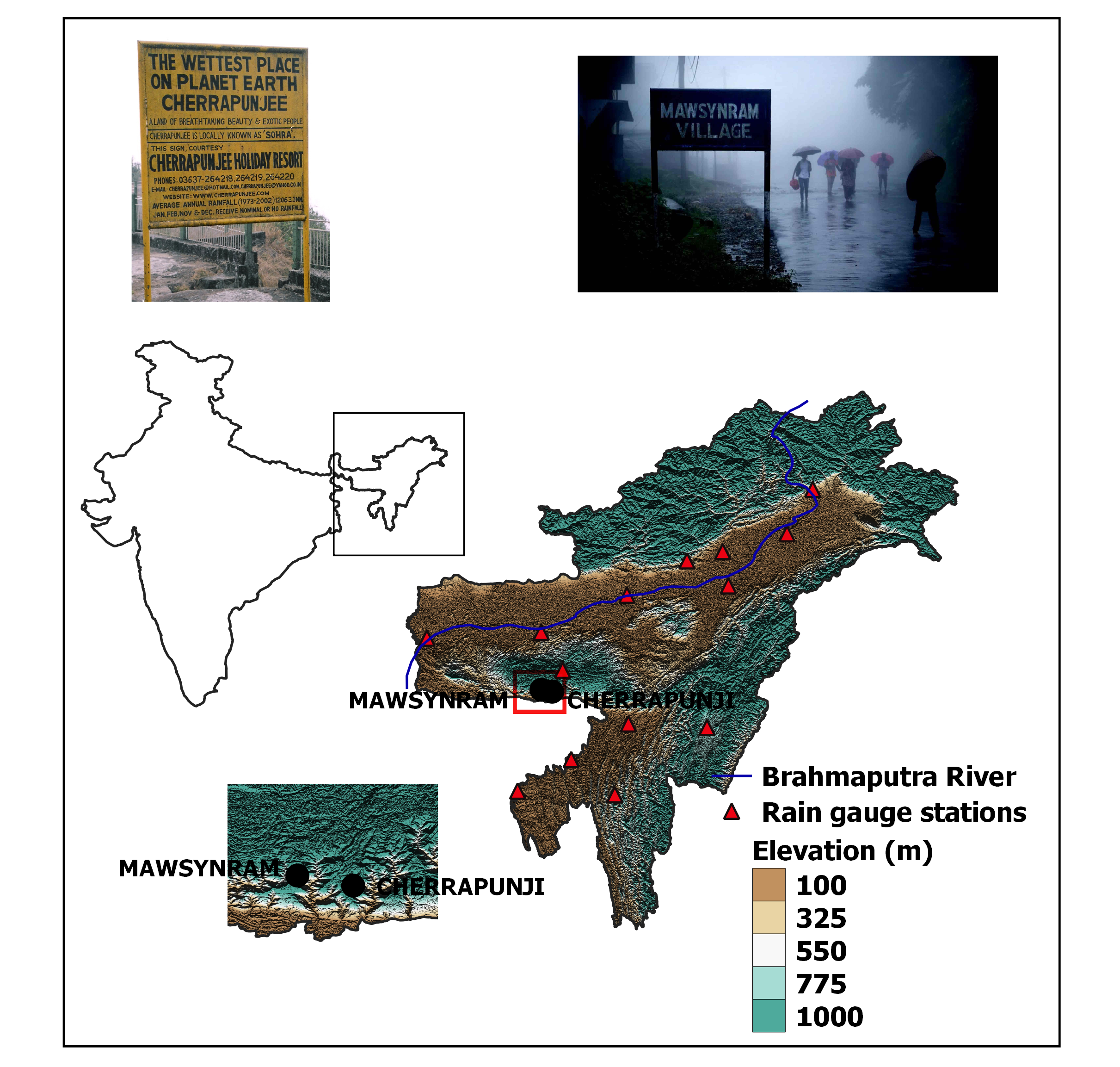 The study used daily and continuous rain gauge measurements from 16 stations, which are managed by the Indian Meteorological Department (IMD), spread across seven states of northeast India for the period 1901–2019. As for rainfall measurements from the Mawsynram station (MAW), the scientists used data from the annual reports of the Meghalaya Planning Department (the 1970s to 2010). Photo from scientists.