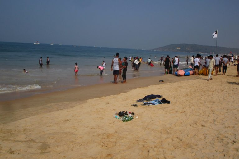 A crowded beach in Goa. Photo by Pamela D'Mello.